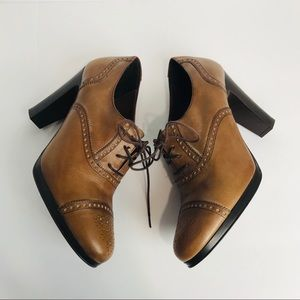 J. Crew | Brown Leather Lace up Oxford Pumps